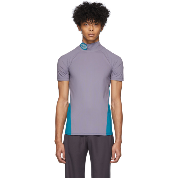 Keenkee T-shirt a col roule mauve et bleu Fitted