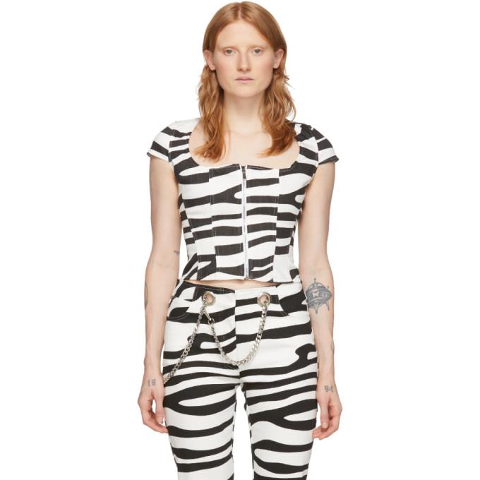 Miaou MIAOU BLACK AND WHITE DENIM MARTINE CORSET T-SHIRT