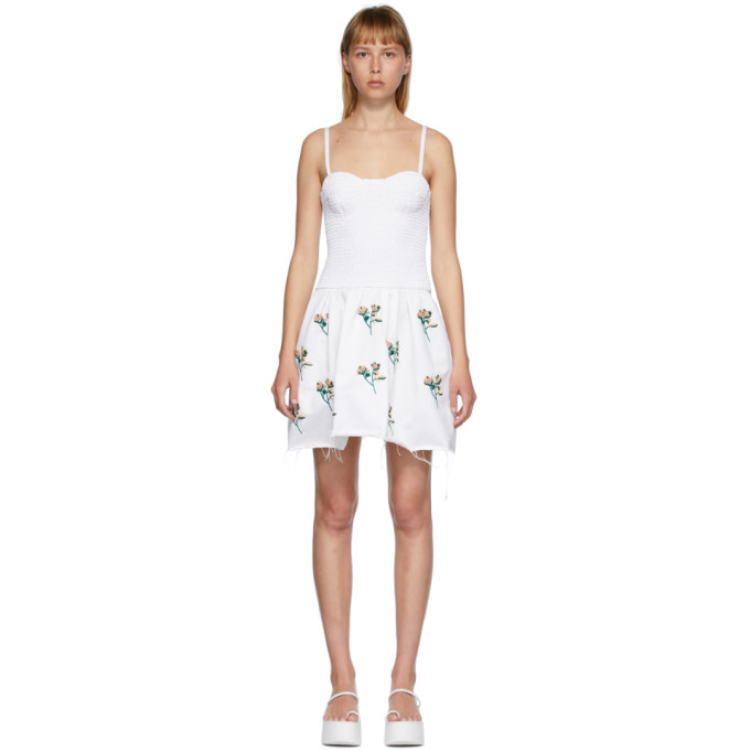 Marina Moscone Robe a broderies et smocks blanche Bustier Tunic