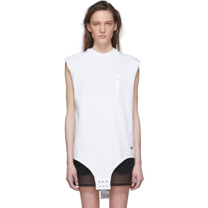 Rick Owens White Champion Edition Sleeveless T-shirt In 11 Milk