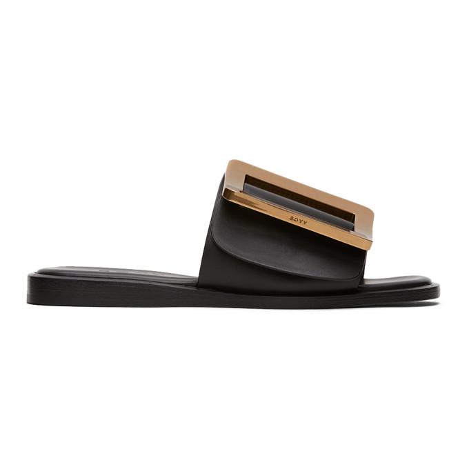 Buy BOYY Black Buckle Flat Sandals online