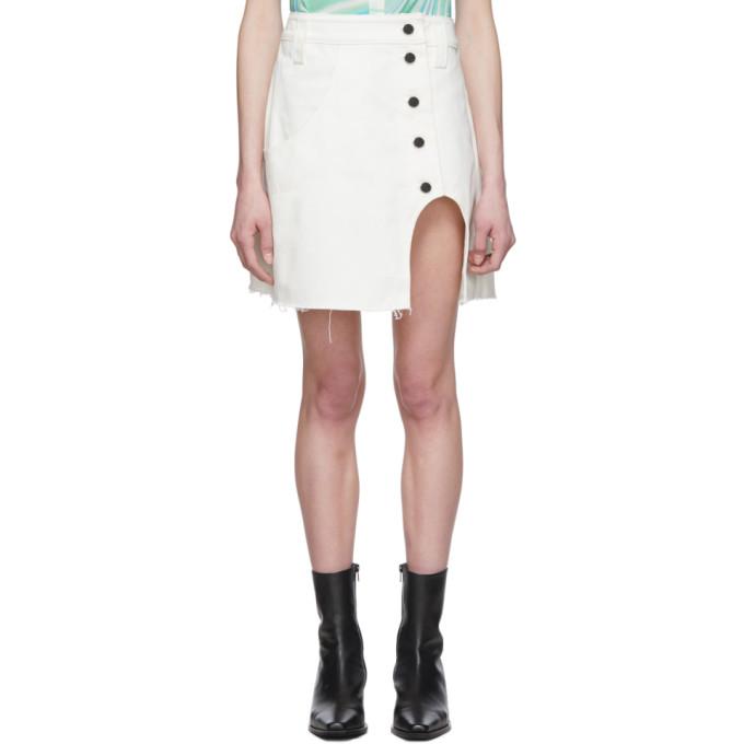 Lecavalier Mini-jupe trapeze en denim blanche