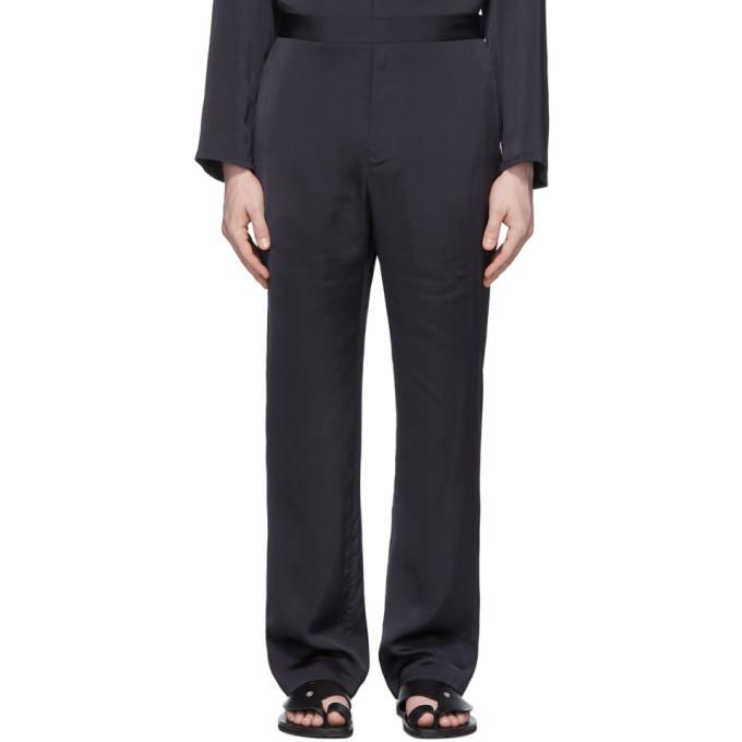 Deveaux New York Pantalon de survetement en satin bleu marine