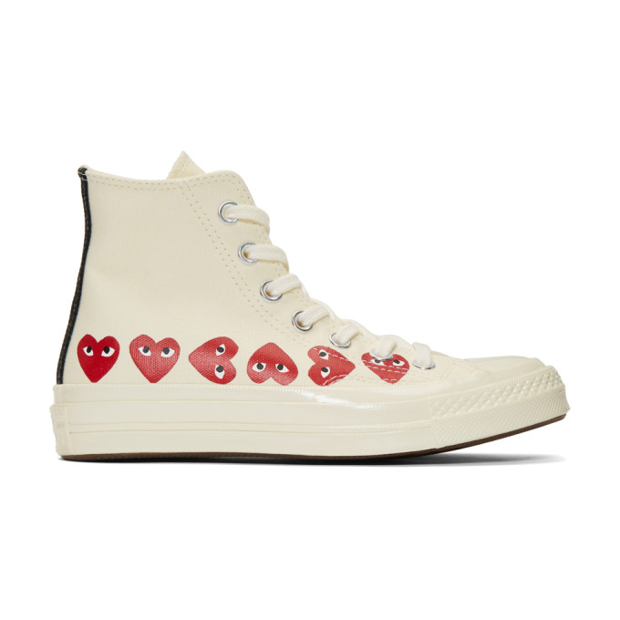 Comme des Garcons Play Baskets blanc casse Multiple Hearts Chuck 70 High edition Converse