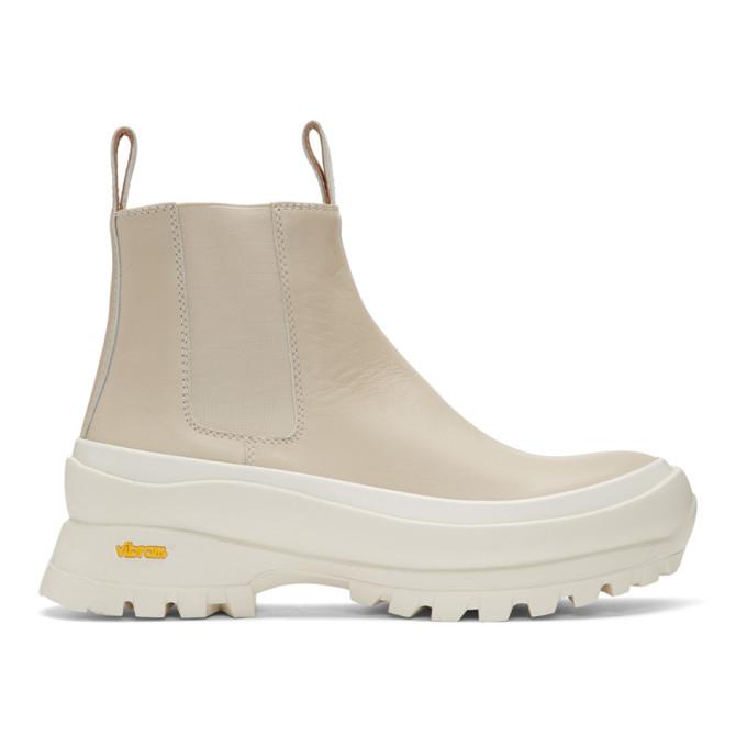 Buy Jil Sander Off-White Rubber Sole Boots online
