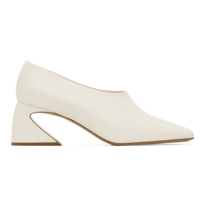 Buy Jil Sander Off-White Triangle Heel Pumps online