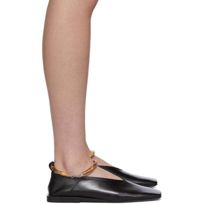 Buy Jil Sander Black Bamboo Cuff Ballerina Flats online
