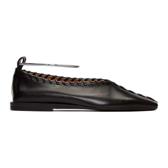 Buy Jil Sander Black Whipstitch Anklet Ballerina Flats online