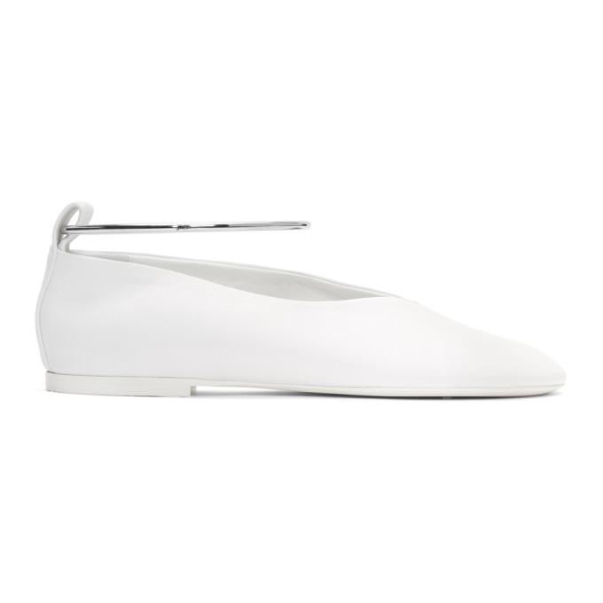 Buy Jil Sander White Ankle Cuff Ballerina Flats online