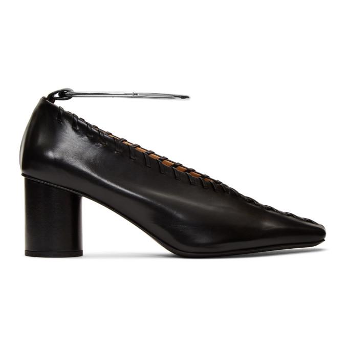 Buy Jil Sander Black Whipstitch Anklet Heels online