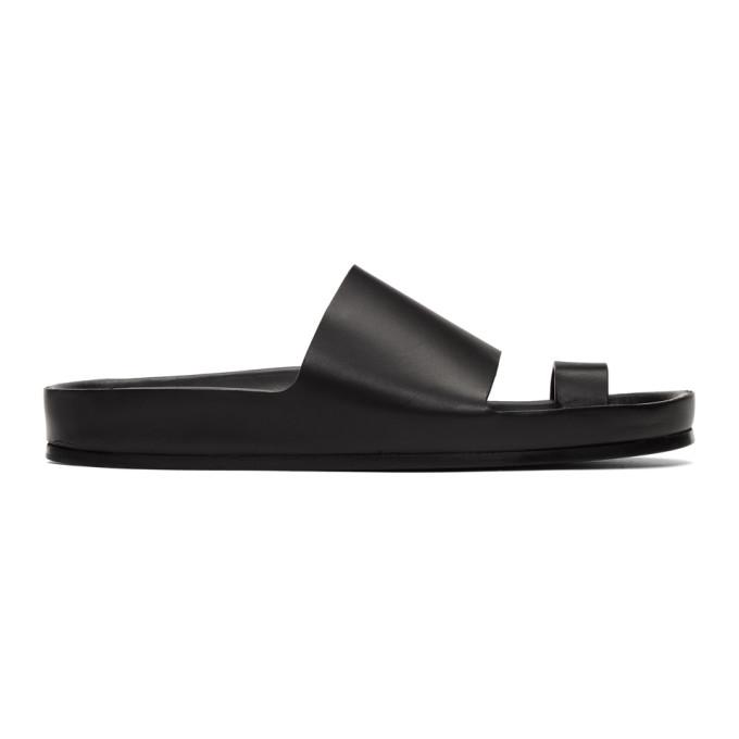 Buy Jil Sander Black Single Toe Strap Sandals online