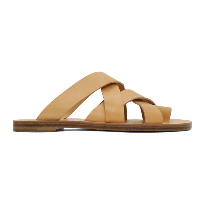 Buy Jil Sander Tan Multi Strap Sandals online