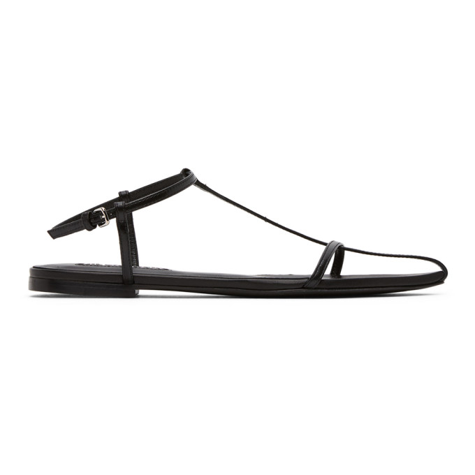 Buy Jil Sander Black Strap Pointy Toe Flat Sandals online