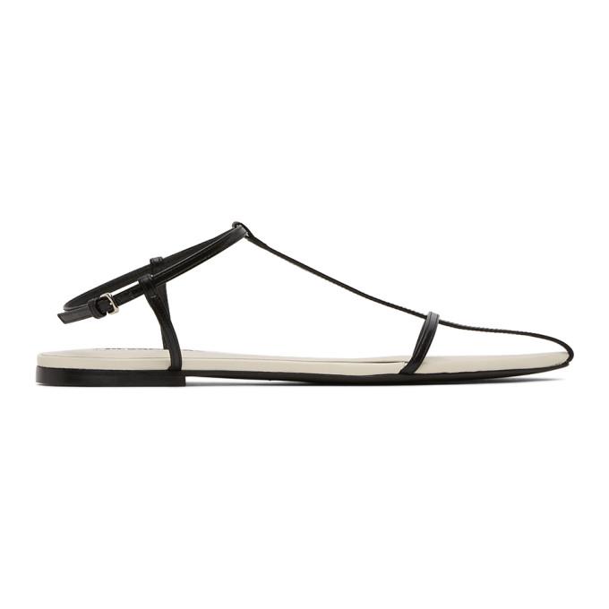 Buy Jil Sander Black and White Middle Strap Pointy Toe Flat Sandals online