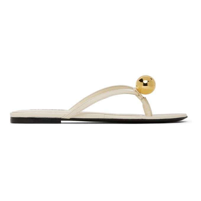 Buy Jil Sander Off-White Gold Ball Thong Sandals online