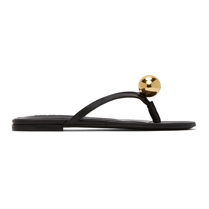 Buy Jil Sander Black Gold Ball Thong Sandals online