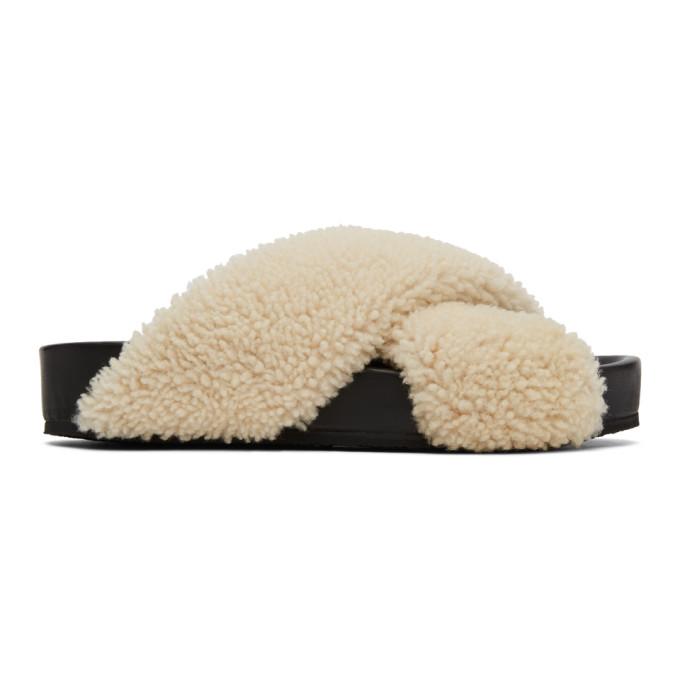 Buy Jil Sander Off-White Shearling Sandals online
