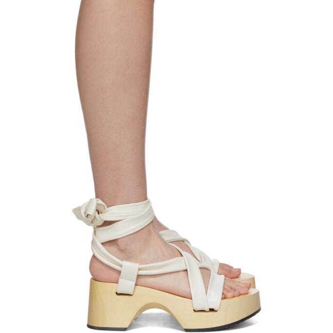 Buy Jil Sander White Strap Wedge Sandals online