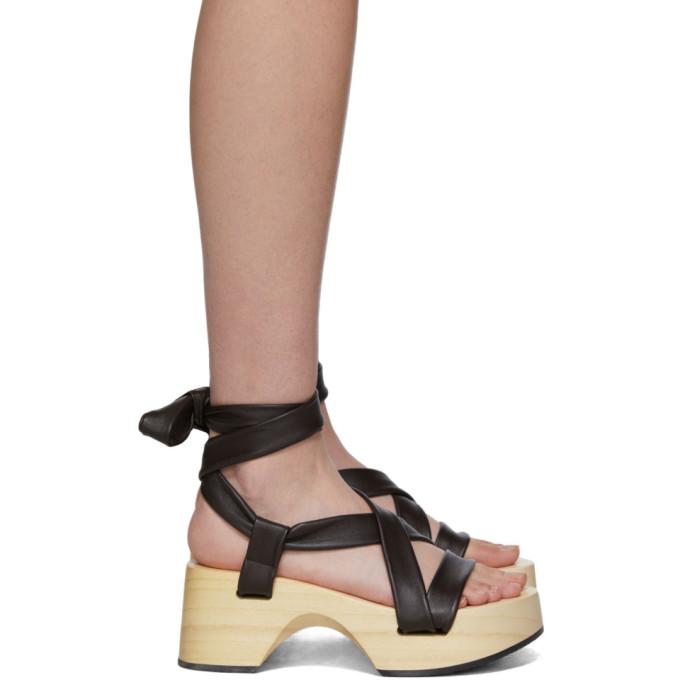 Buy Jil Sander Brown Strap Wedge Sandals online