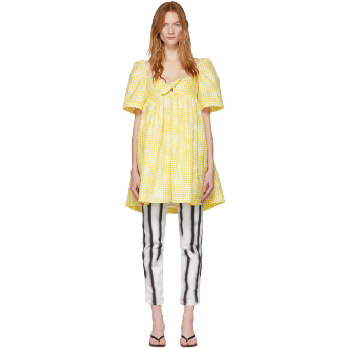 Pushbutton YELLOW CHECK PUFF DRESS