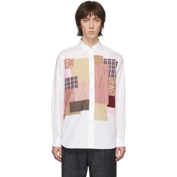 Junya Watanabe Chemise blanche Multi Fabric Mix
