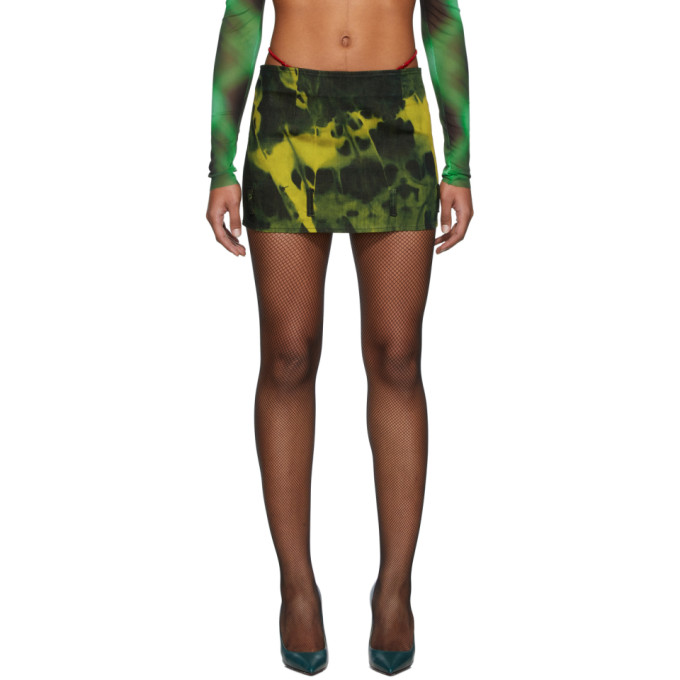 Mowalola Mini-jupe en denim a motif tie-dye indigo et verte