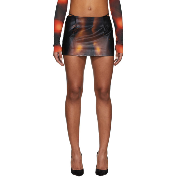 Mowalola Mini-jupe en cuir a imprime noire LC