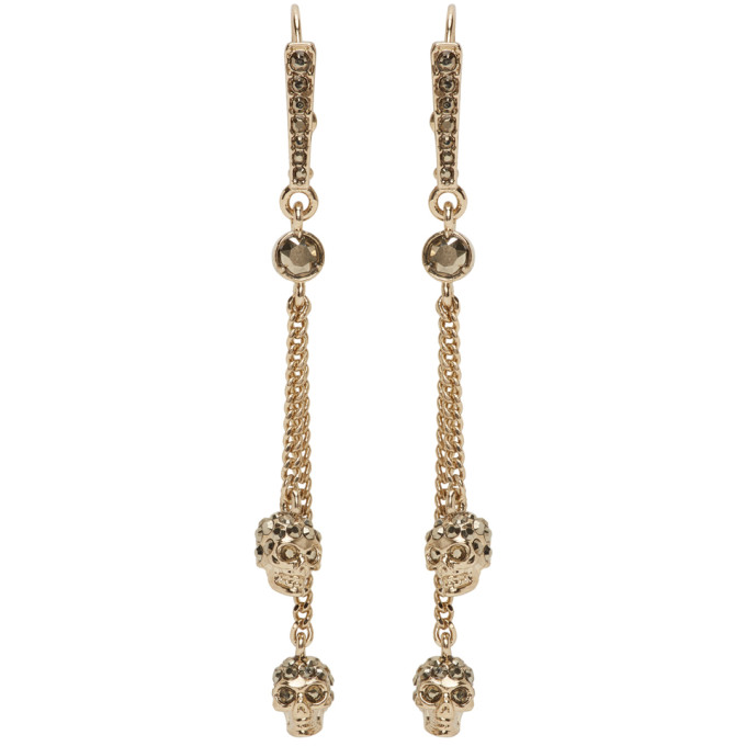 Alexander McQueen Gold Skull Chain Earrings  - buy with discount