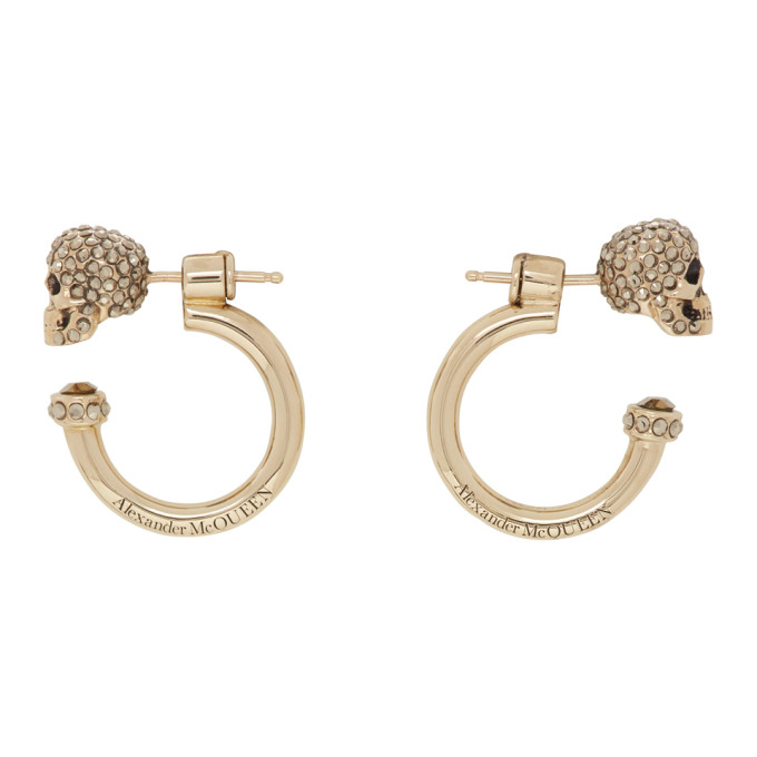 Alexander McQueen Gold Small Skull Hoop Earrings  - buy with discount