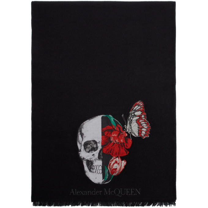 Alexander McQueen Foulard en laine noir Bloom Skull