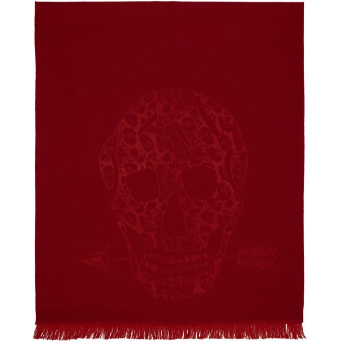 Alexander McQueen Foulard en laine rouge Leopard and Skull