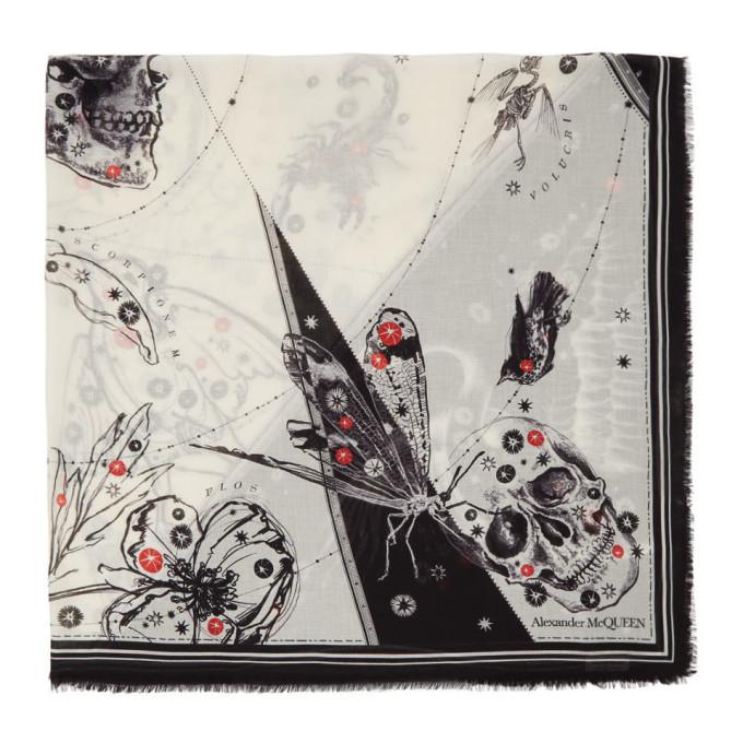 Alexander McQueen Chale blanc casse et noir Cosmos