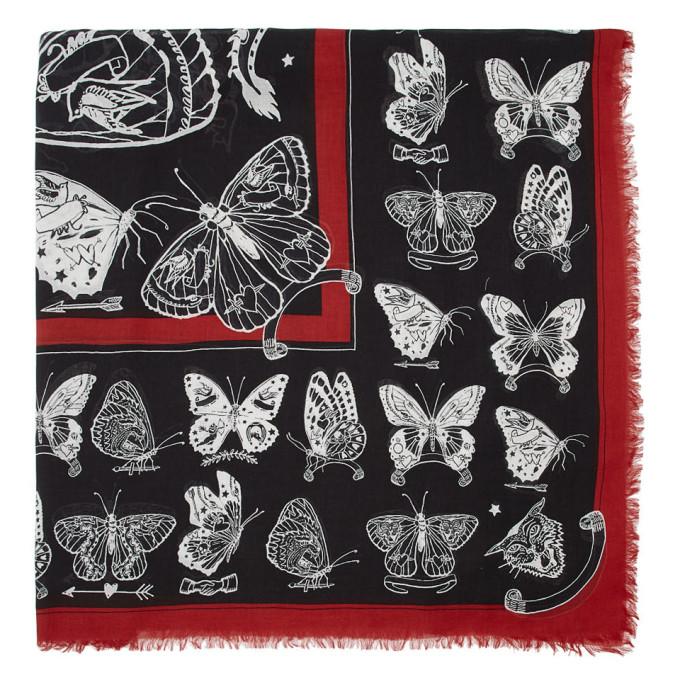 Alexander McQueen Chale noir et blanc Inked Butterfly