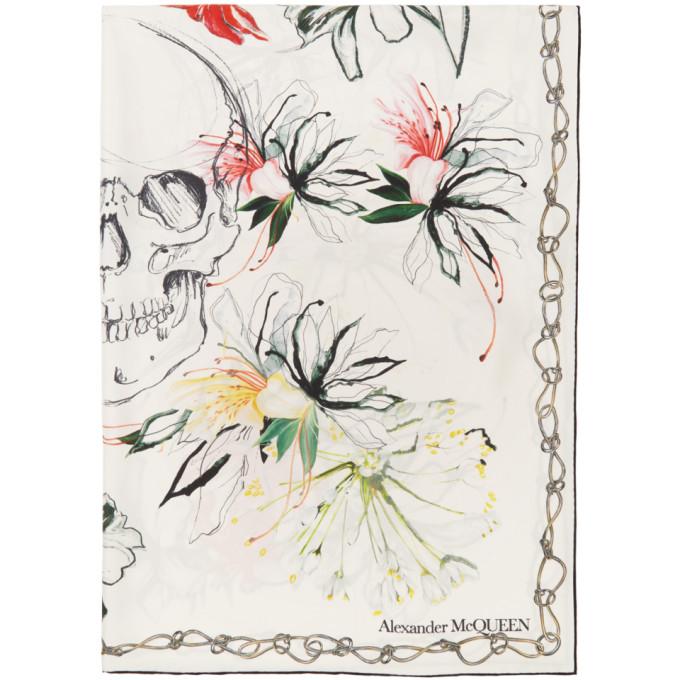Alexander McQueen Foulard en soie blanc Endangered Flowers