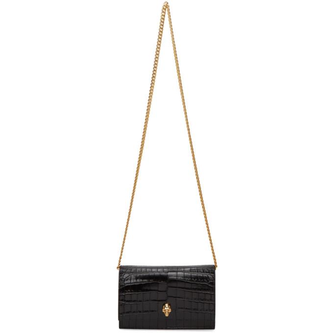 Alexander McQueen Black Croc Mini Skull Bag  - buy with discount