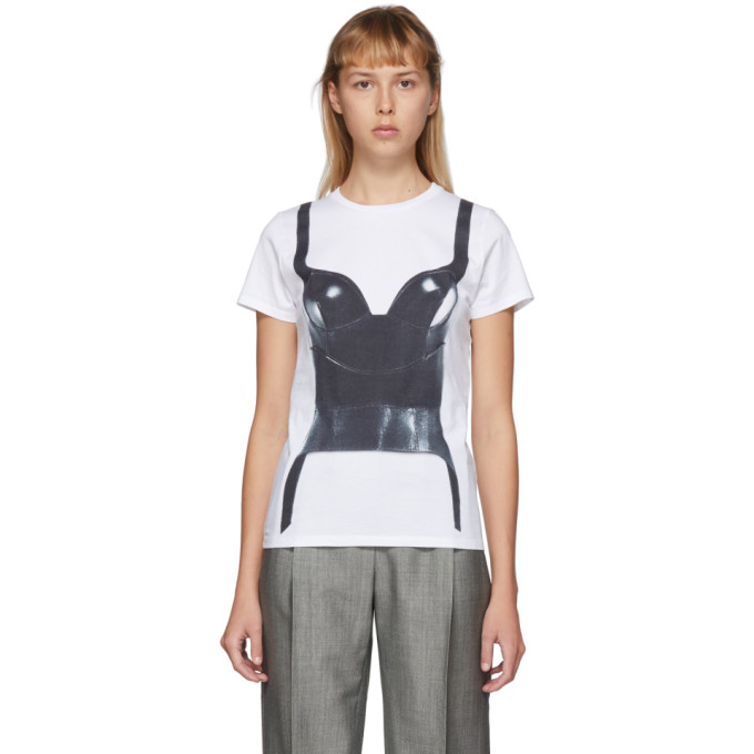 Alexander Mcqueen Corset Print Cotton Jersey T-shirt In 0900 White