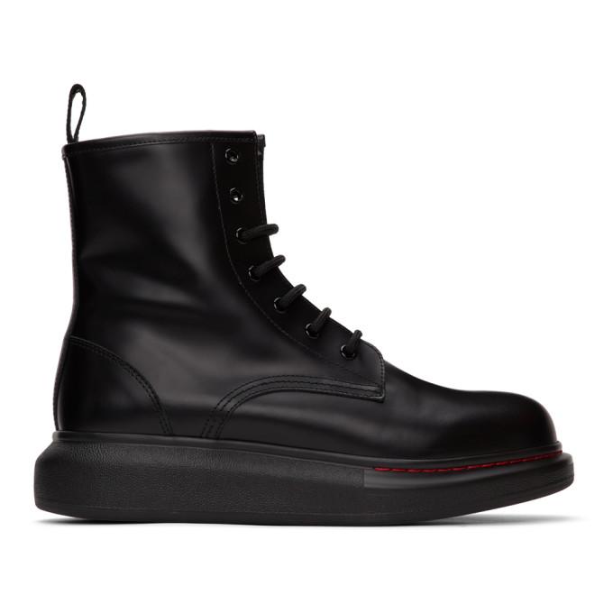 Buy Alexander McQueen Black Contrast Sole Hybrid Combat Boots online