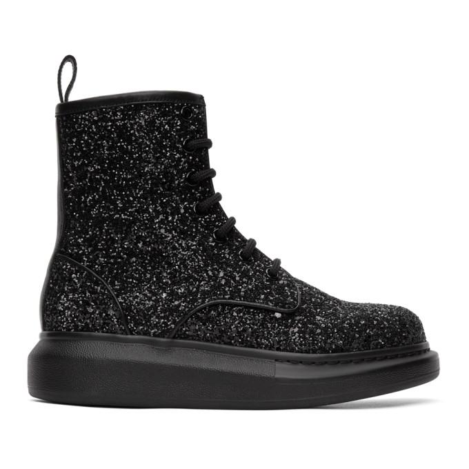 Buy Alexander McQueen Black Glitter Combat Boot online