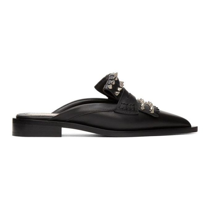 Alexander Mcqueen Studded Point-toe Leather Backless Loafers In 1081 Black