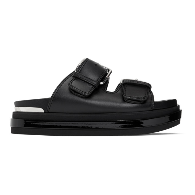 Alexander Mcqueen Buckled Patent-leather Trimmed Leather Platform Sandals In Black