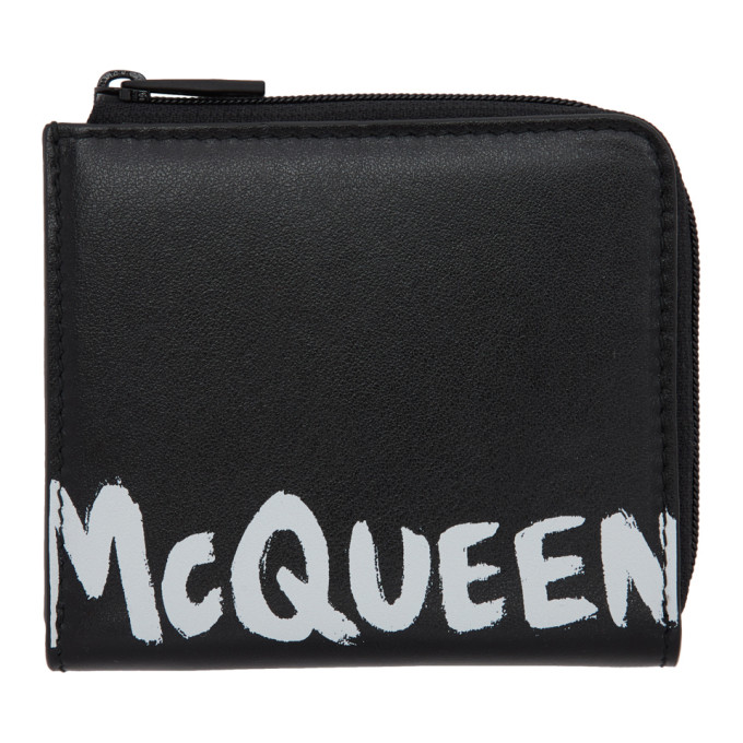 Alexander McQueen Black Graffiti Zip Coin Purse