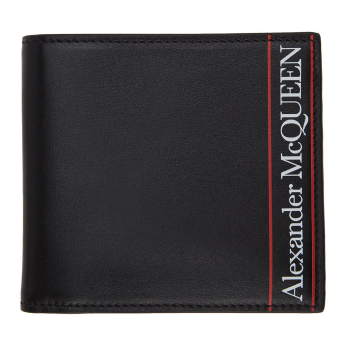 Alexander McQueen Black and Red Logo Bifold Wallet