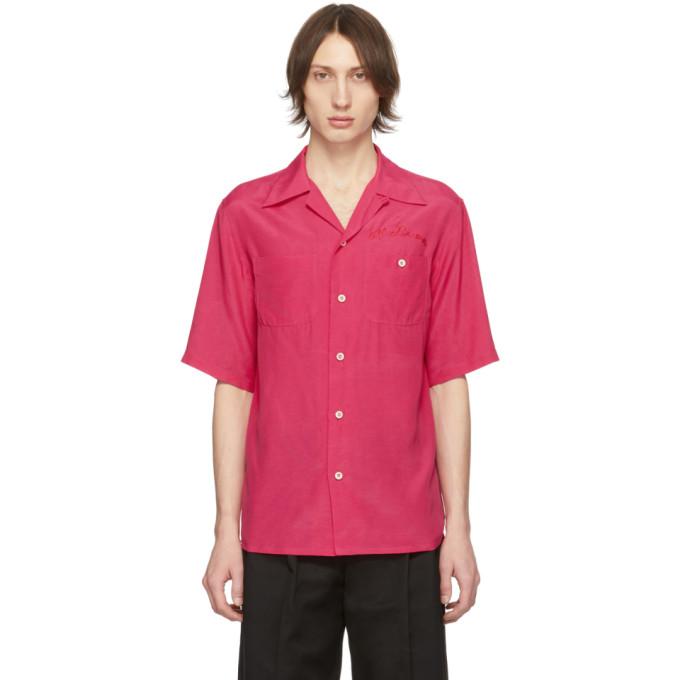 Alexander McQueen Chemise de bowling a logo rose