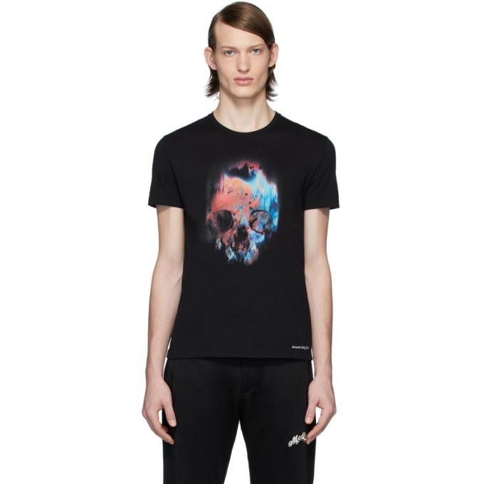 Alexander Mcqueen Men's Multicolor Skull Graphic T-shirt In Black