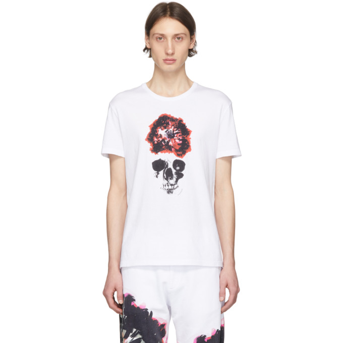 Alexander Mcqueen Slim-fit Printed Cotton-jersey T-shirt In 0900 Whtmix