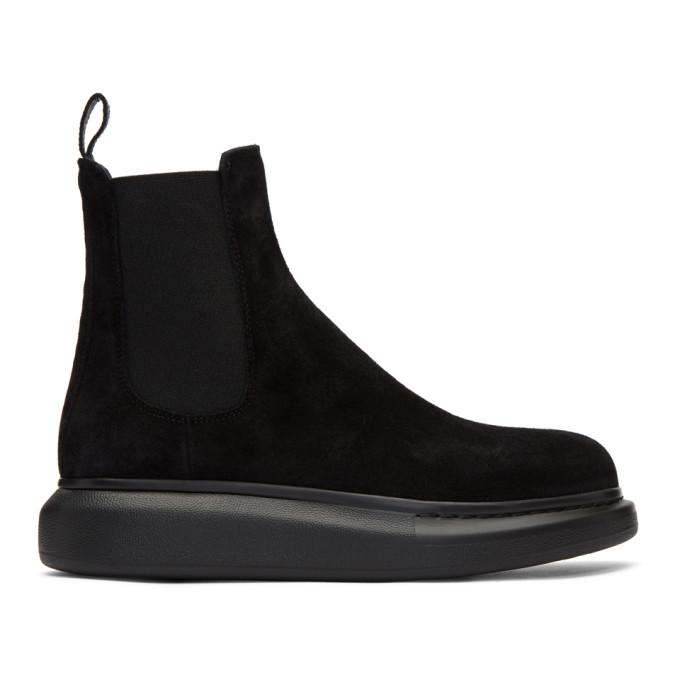 Alexander McQueen 黑色绒面革切尔西靴