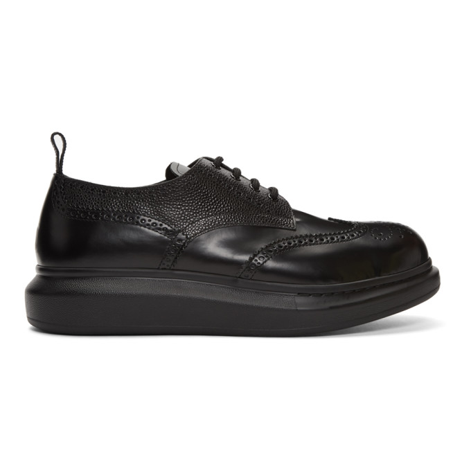 Alexander Mcqueen Brogue Insert Black Leather Lace-ups In 1000 Blkblk