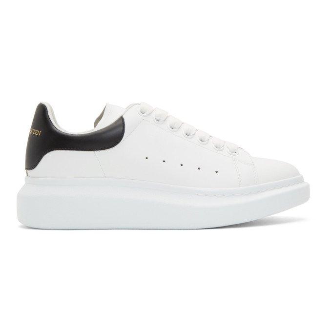 Alexander Mcqueen Raised-sole Low-top Leather Trainers In White/black