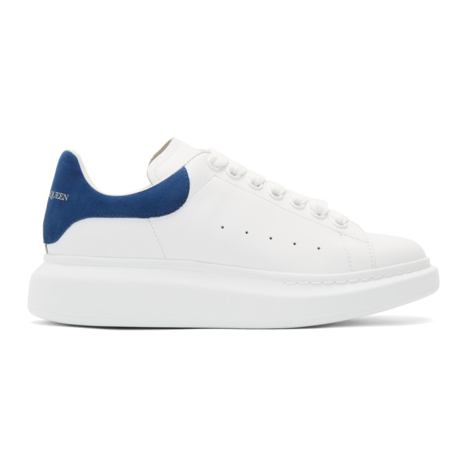 Alexander Mcqueen 'oversized Sneakers' In Leather With Suede Collar In White
