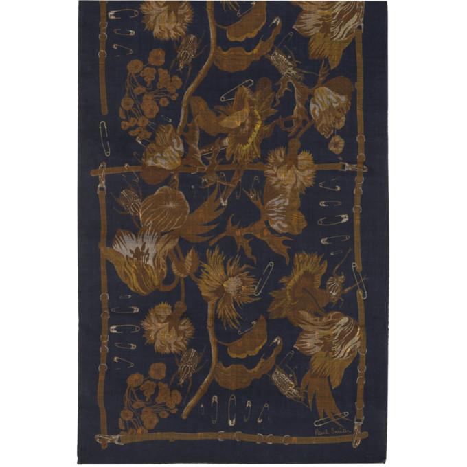 Paul Smith Foulard bleu marine et brun clair Beetle Botanical